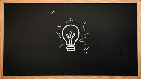 Idea brainstorm appearing on chalkboard Animation