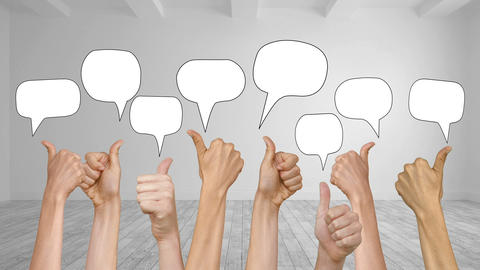 Speech Bubbles Appearing With Many Thumbs Up stock footage