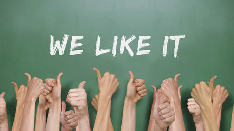 We Like It With Many Thumbs Up stock footage