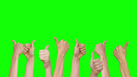 Many Thumbs Up Against Green Screen stock footage