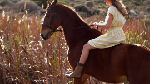 Pretty woman riding on a horse Footage