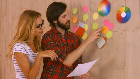 Casual Designers Working On A Post Its Wall stock footage