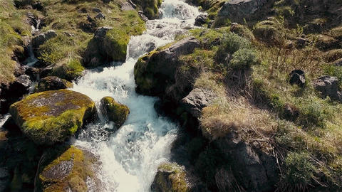 Flight over a waterfall Footage