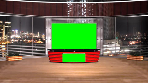 Virtual Studio News Broadcast Television Red Color Footage