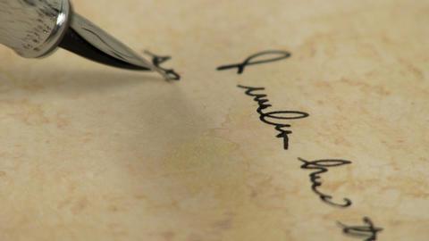 Macro fountain pen writing 4 Footage