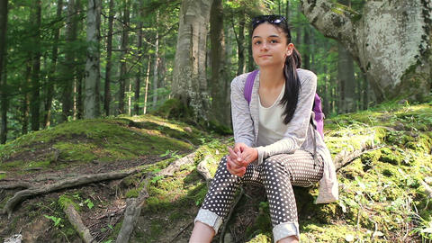 Teenage Girl Enjoying The Nature stock footage