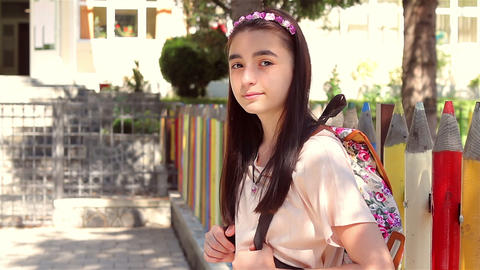 Young schoolgirl back to school 2 Footage