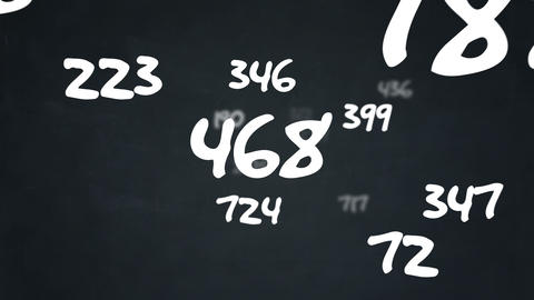 Random numbers flying by on chalkboard background Animation