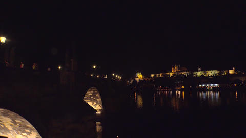 Charles Bridge in Prague. 4K Footage