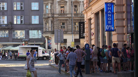 The Queue At The Currency Exchange In Prague. 4K stock footage