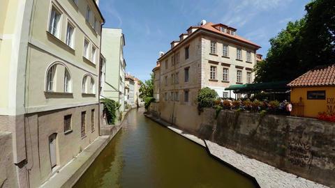 Water channel Certovka in Prague. 4K Footage