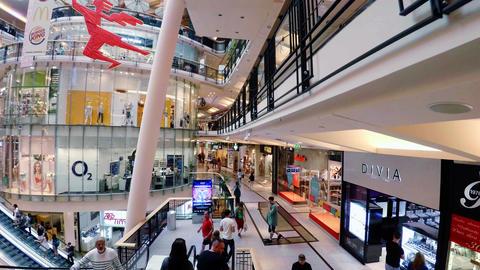 Supermarket, shopping center in Prague. 4K Footage