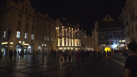 The Old Town Square in Prague. Night. 4K Footage