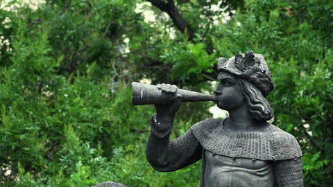 Sculpture of the trumpeter. Detail of the monument to Emperor Franz I in Prague. Footage