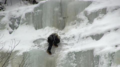 Near the top if ice waterfall Footage