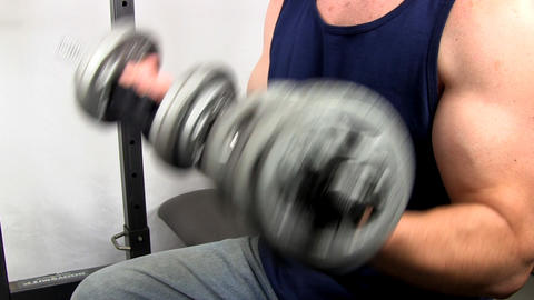 Dumbbell curls 3 Footage