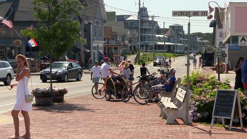 Tourists in Oak Bluffs in summer Footage