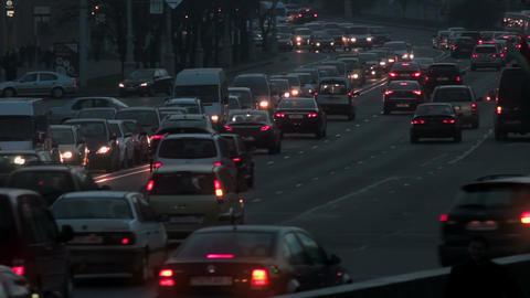 1080p Heavy Traffic on Street in Evening Footage