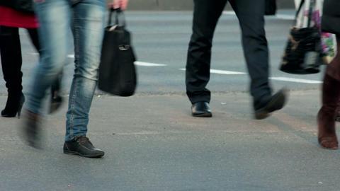 1080p Legs of People Who Cross Street at Pedestrian Crossing Footage