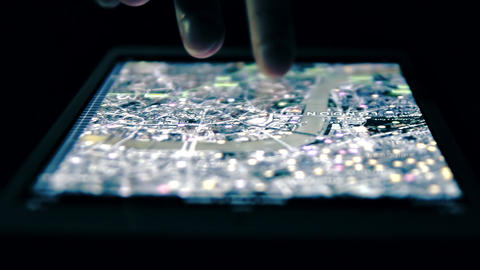Satellite Map Of London On Tablet Computer stock footage