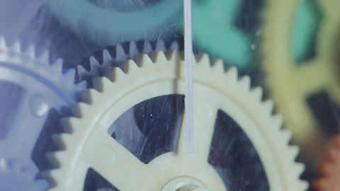1080p Ungraded: Colorful Plastic Gears Rotate Synchronously Footage
