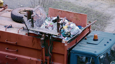 Waste In Garbage Truck stock footage