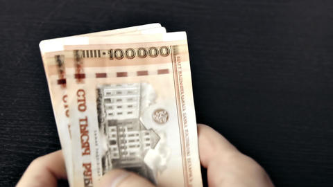 1080p Counting Old Belarusian Rubles (BYR) Footage
