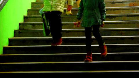 1080p Three Girls on Dark Green Subway Staircase Footage