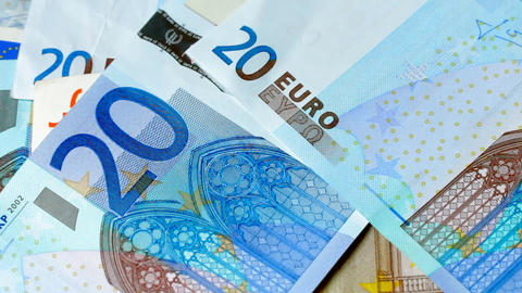 1080p Counting Euros Macro Shot Footage