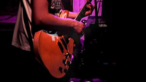 1080p Guitarist Plays Rhythm Guitar During Concert Live Action