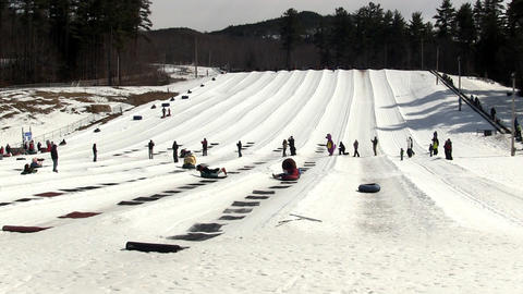 Winter snow tubing fun Footage