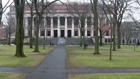 Iconic Harvard Library stock footage