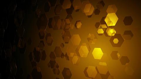golden flying hexagons Animation