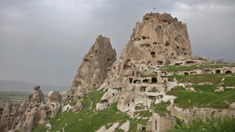 Fortress on the rock in the town of Uchisar in Cappadocia, Turkey Footage