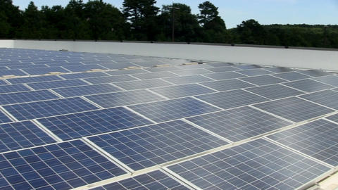 Solar panels on roof of electronic manufacturing building provide 100% of power  Footage