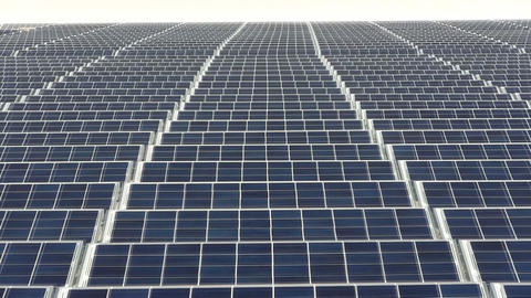 Zoom Out Of Rooftop Solar Panel Grid At Electronics Company On Cape Cod stock footage