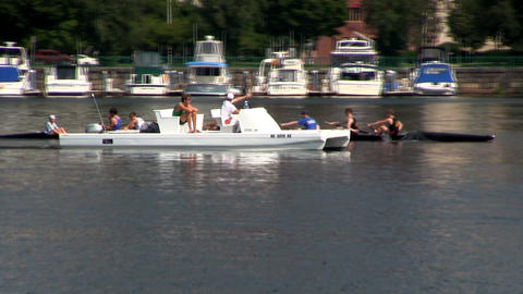 College crew team practicing on Charles river in Boston on hot summer day. They  Footage