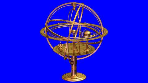 Armillary Sphere. 3D Animation stock footage