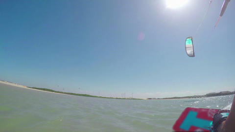 FIRST PERSON VIEW: Kitesurfing on flat water Live Action