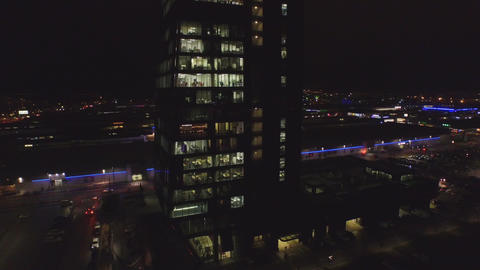 AERIAL: Busy city center at night Footage