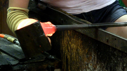Shaping molten glass Footage