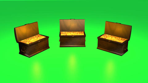 Wooden Treasure Chest With Gold Animation Green Screen Footage
