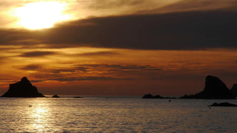 Sunset Between Islet stock footage