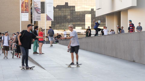 Skaters In Barcelona Downtown stock footage