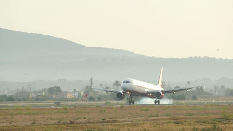 Jet Plane Landing at Majorca Airport 4k Live Action