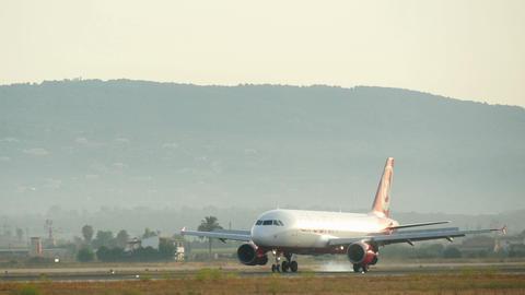 Commercial Airliner Flight Landing at Majorca Airport 4k Footage