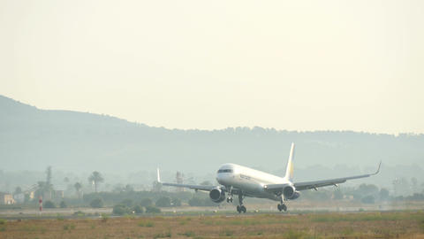 Jet Passenger Plane Landing at Majorca Airport 4k Footage