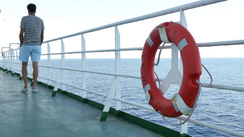 Deck Of A Cruise Liner With Safety Float stock footage
