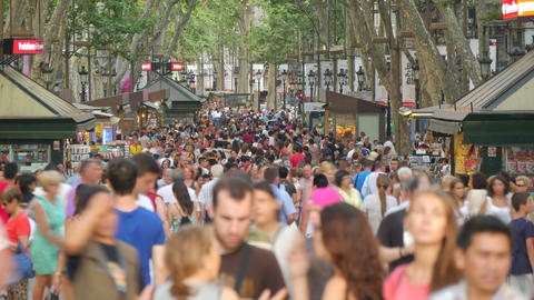 Crowded Les Rambles Boulevard in Downtown Barcelona 4k Live Action
