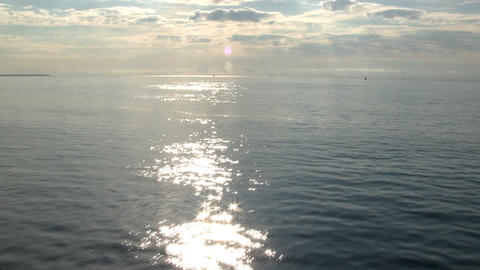 Vineyard sound looking east in early morning from deck of ferry boat Footage